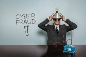 Cyber Fraud text with vintage businessman and machine at office
